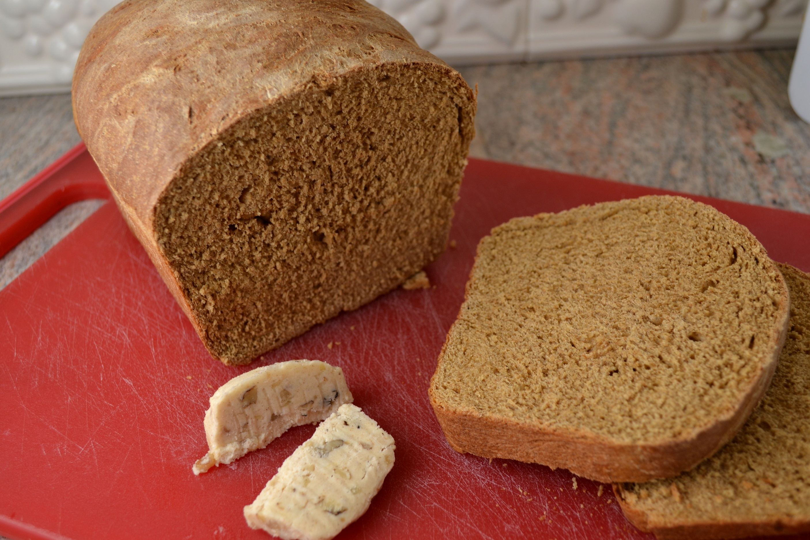 Whole Wheat Bread with Honey Nut Cinnamon Butter
