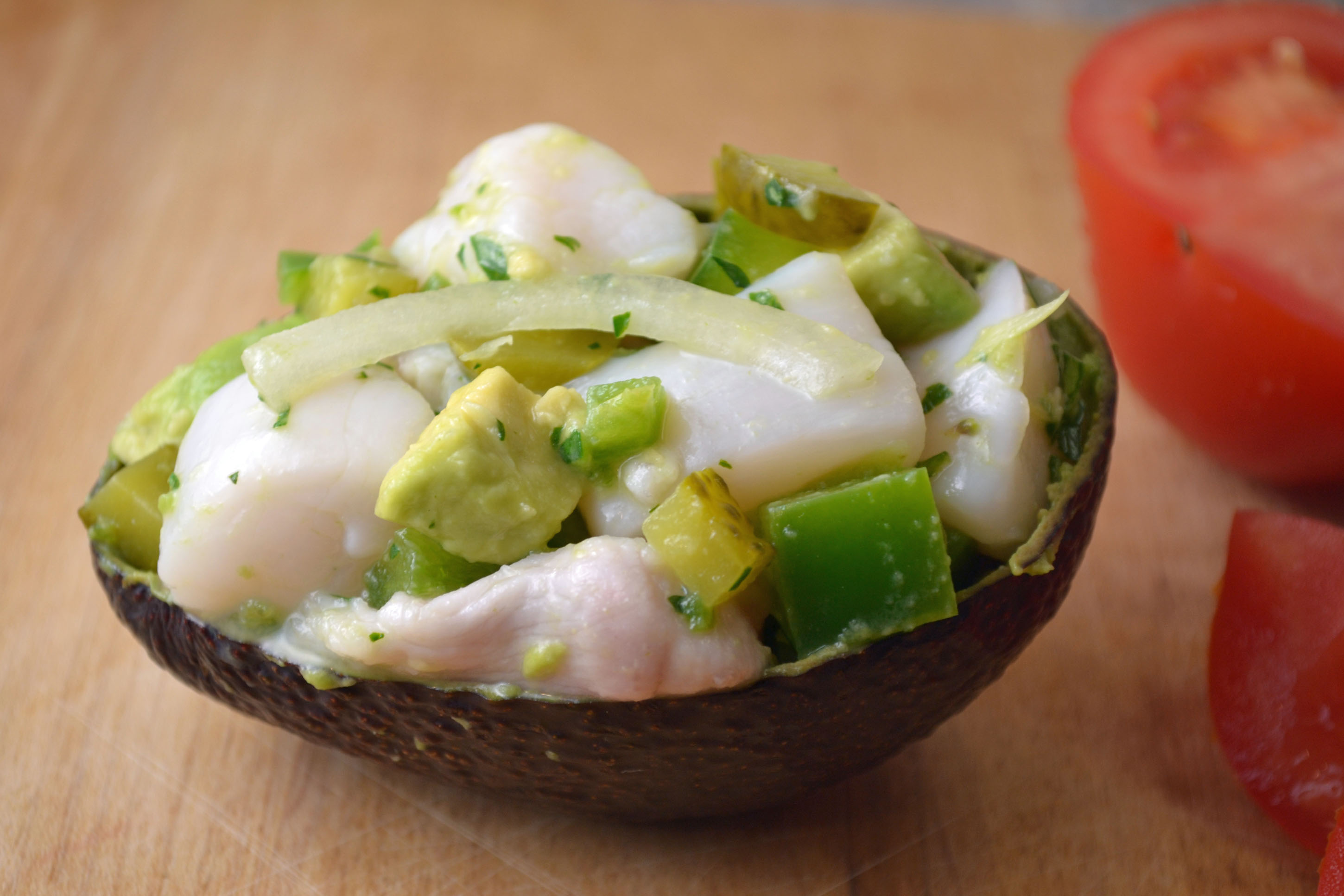 Ceviche in avocado shell