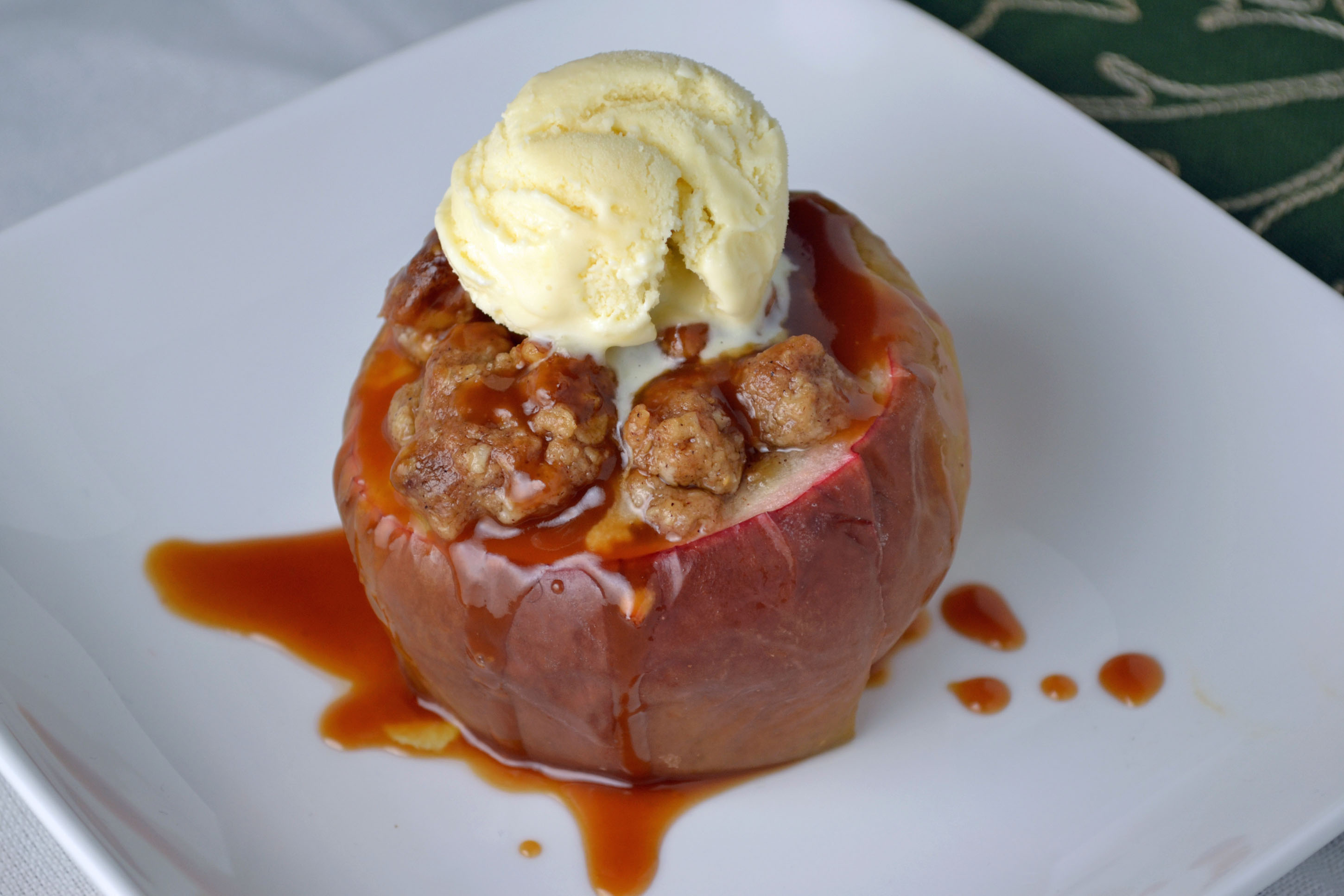 Stuffed Baked Apples with Caramel Sauce and Vanilla Ice Cream